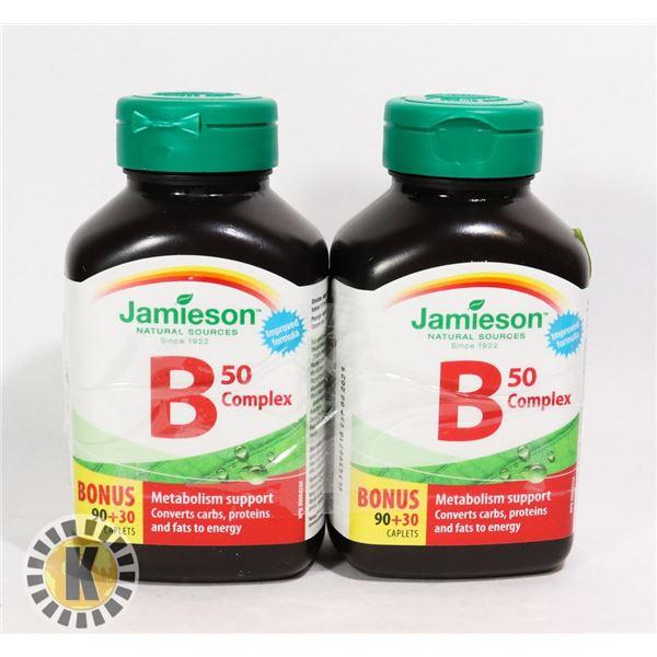 TWO BOTTLES OF JAMIESON B50 COMPLEX VITAMINS