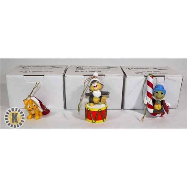 3 CHRISTMAS ORNAMENTS- 2 DOC PINOCCHIO AND 1 DOC OLIVER