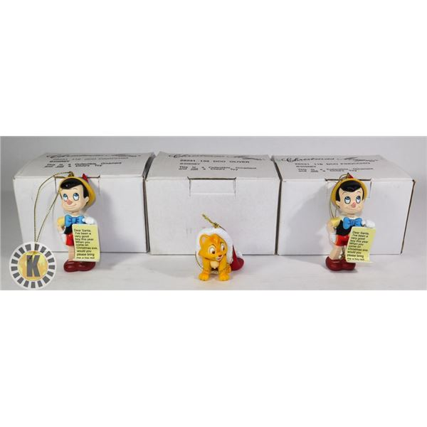 3 CHRISTMAS ORNAMENTS-OLIVER, JIMINY, AND THUMPER