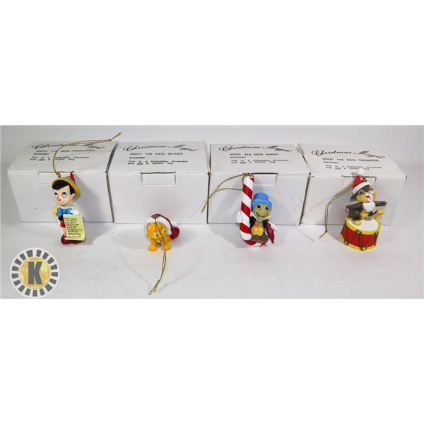 CHRISTMAS ORNAMENTS-OLIVER, JIMINY, PINOCCHIO & THUMPER