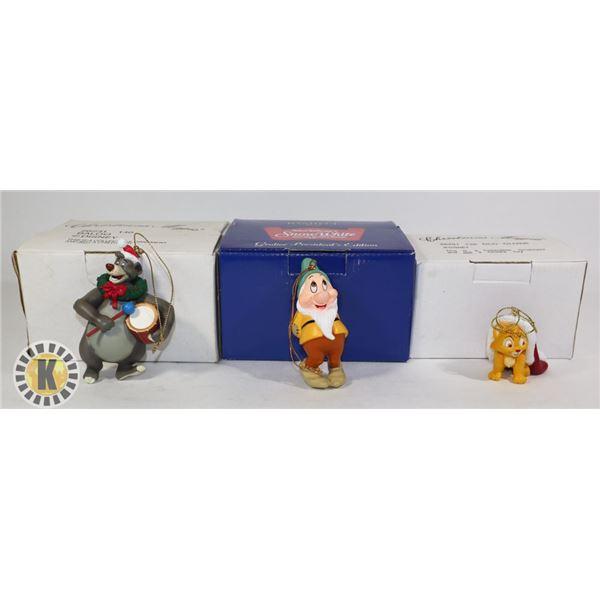 3 CHRISTMAS ORNAMENTS- BALOO, WINNIE, AND DOC OLIVER