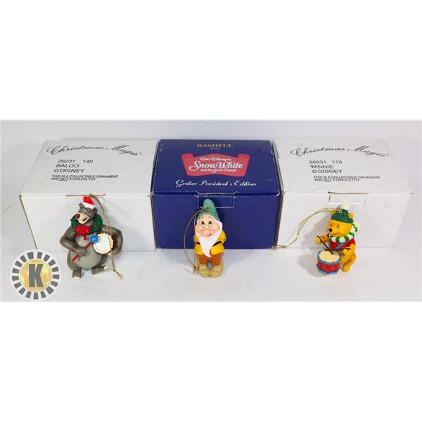 3 CHRISTMAS ORNAMENTS- BALOO, WINNIE, AND SNOW WHITE