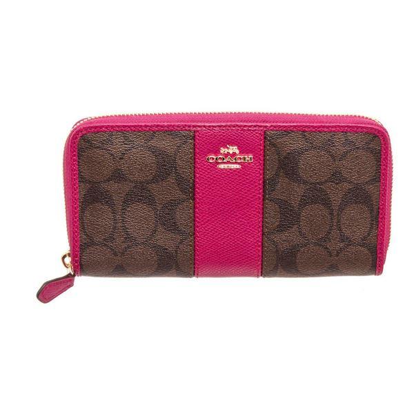 Coach Brown  Pink PVC Leather Zippy Wallet