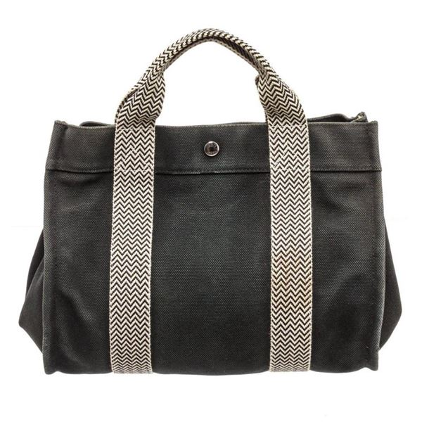 Hermes Navy Blue Gray Canvas Sac Fourre PM Tote Bag