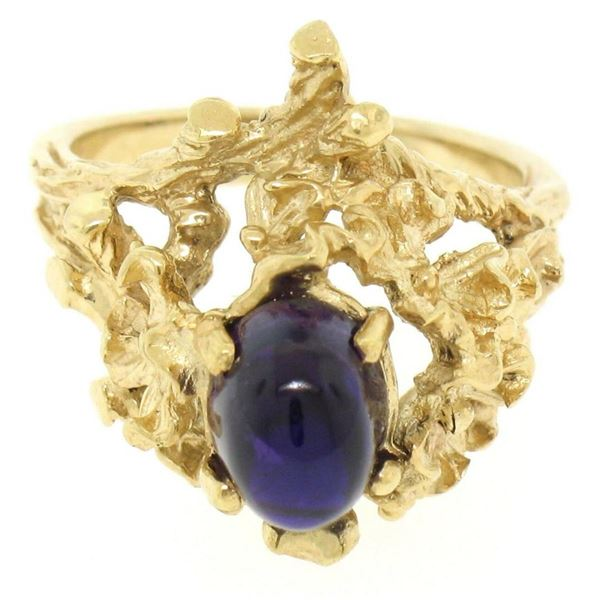 Estate 14kt Yellow Gold 1.98 ctw Amethyst Coral Reef Nugget Cocktail Ring