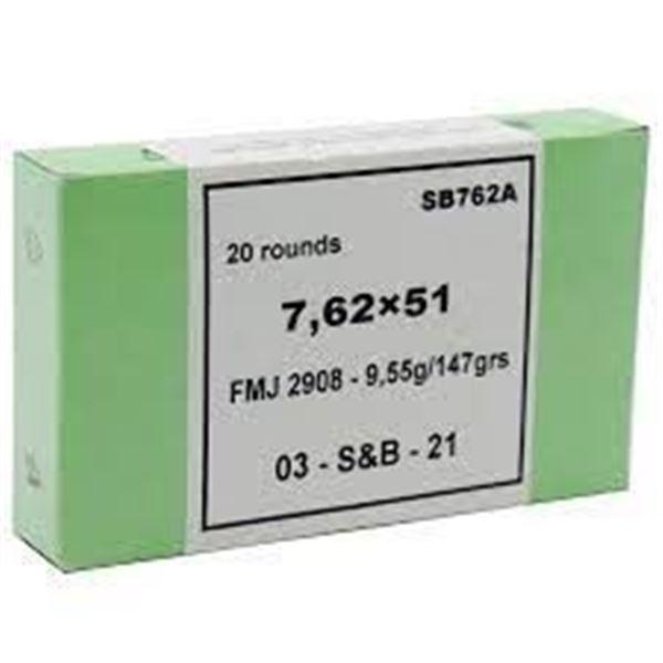 S& B 762X51 147GR FMJ - 20 Rds
