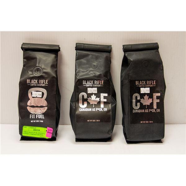 THREE BAGS OF BLACK RIFLE COFFEE COMPANY BLENDS