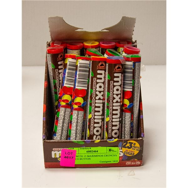 BOX WITH 15 MAXIMINOS CRUNCHY CHOCO BUTTON