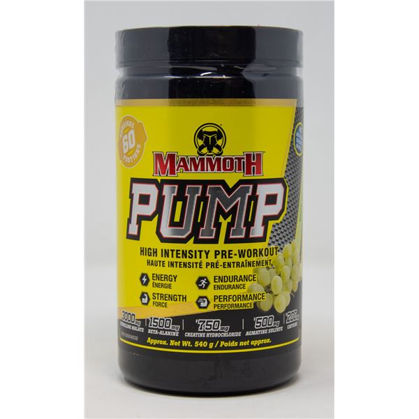 MAMMOTH PUMP HIGH INTENSITY PRE-WORKOUT WHITE