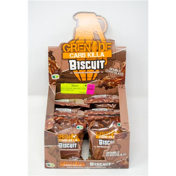 BOX OF EIGHT GRENADE CARB KILLA BISCUITS