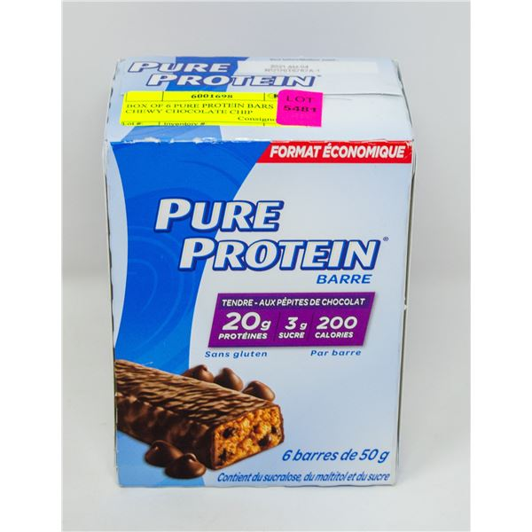 BOX OF 6 PURE PROTEIN BARS CHEWY CHOCOLATE CHIP