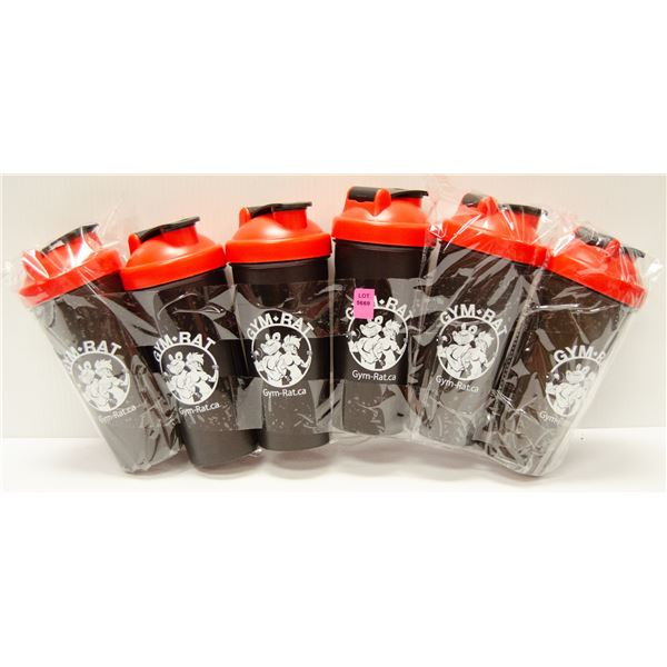 LOT OF 6 GYM RAT SHAKER CUPS COMPLETE WITH SHAKER