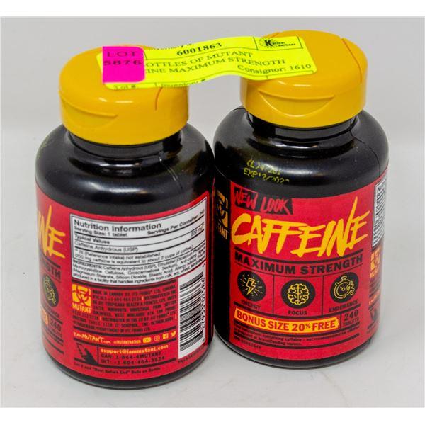 TWO BOTTLES OF MUTANT CAFFEINE MAXIMUM STRENGTH