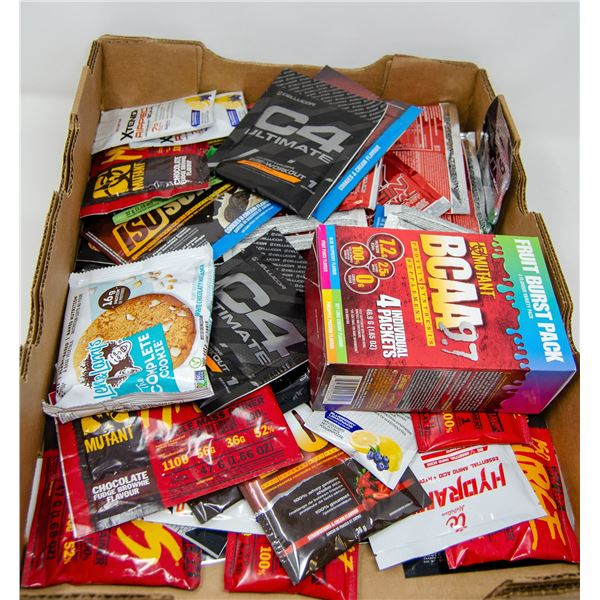 FLAT OF ASSORTED SUPPLIMENT PACKETS AND MORE