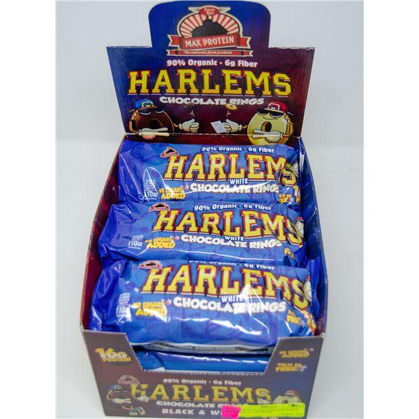 BOX OF 9 PACKS HARLEMS WHITE CHOCOLATE RINGS