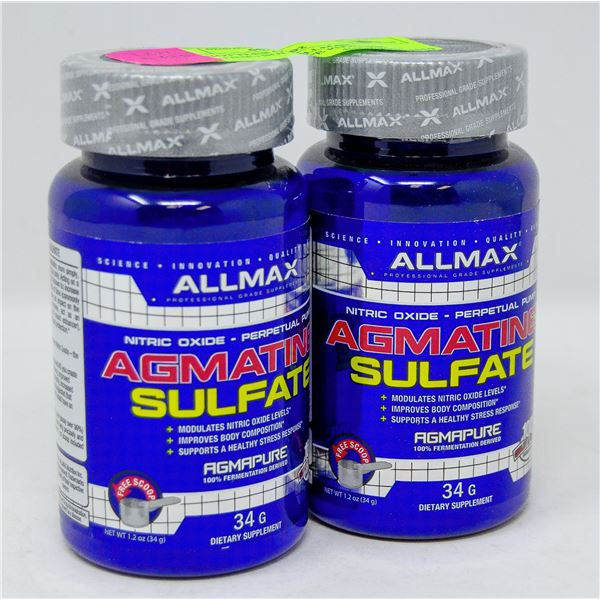 TWO BOTTLES OF ALLMAX AGMATINE+SULFATE POWDER