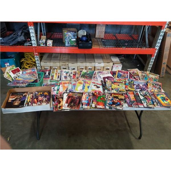 BOX AND BASKET OF OVER 100 COLLECTABLE COMICS- SOME BAGGED AND BOARDED