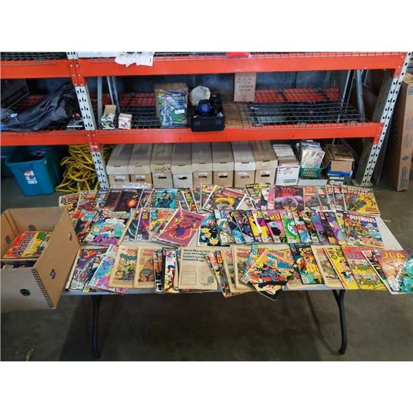 BOX OF OVER 100 COLLECTABLE COMICS - SOME BAGGED AND BOARDED, SOME WITHOUT COVERS