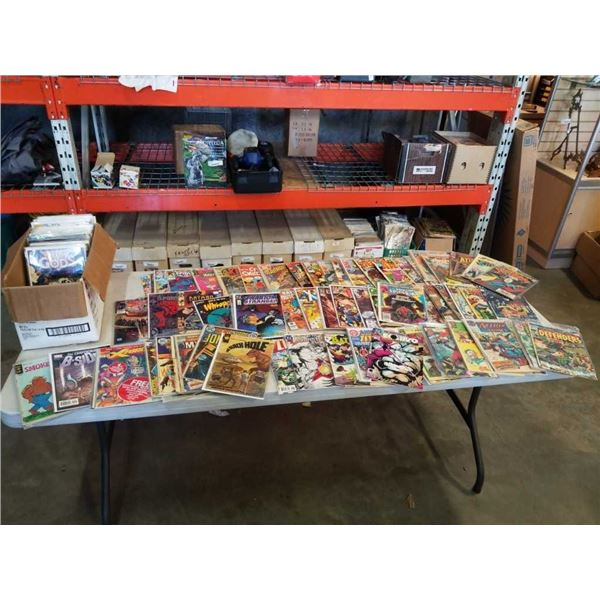 BOX OF OVER 100 COLLECTABLE COMICS - MANY BAGGED AND BOARDED