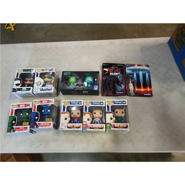 LOT OF COLLECTABLE FIGURES IN BOXES POP FIGURES MARVEL, MATRIX, BACK TO THE FUTURE, TALLADEGA NIGHTS