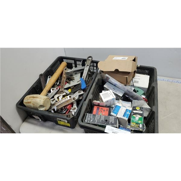 2 trays of tools and electronics