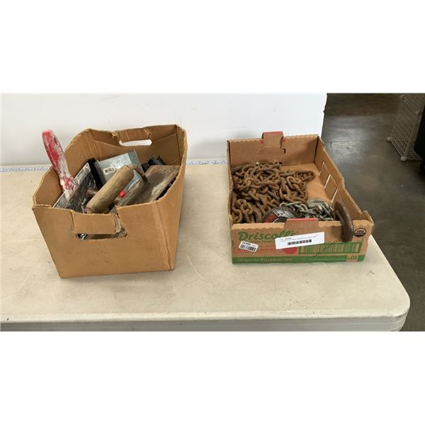 """2 boxes of 20"""" chain, drywall tools, gears and more"""