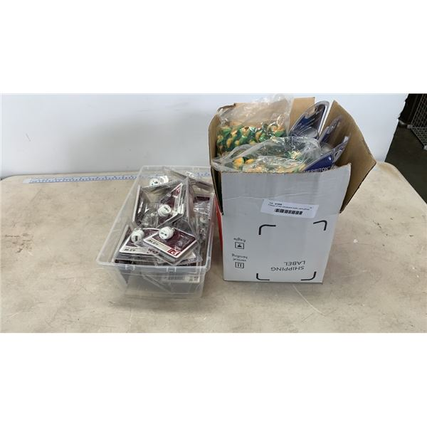 2 boxes of new candleabra bulbs, work gloves and flashlight/torches