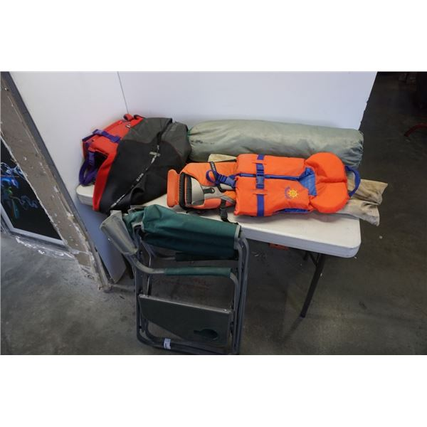 FOLDING CHAIR, LIFE JACKETS, CAMP ITEMS