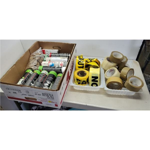 Box of Degreaser, packing tape and caution tape