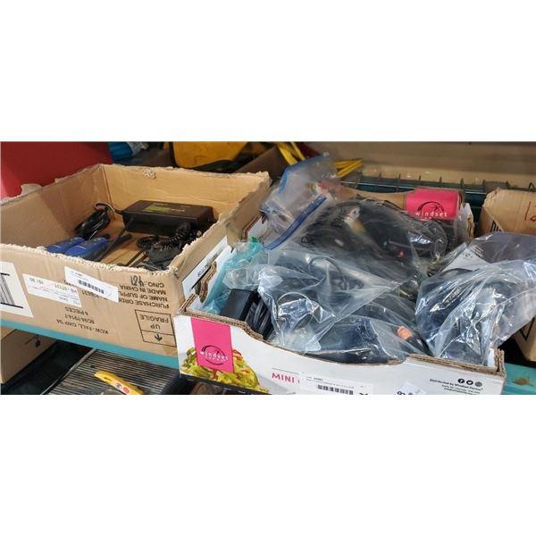 Tray of walkie talkiesand box of ac cords