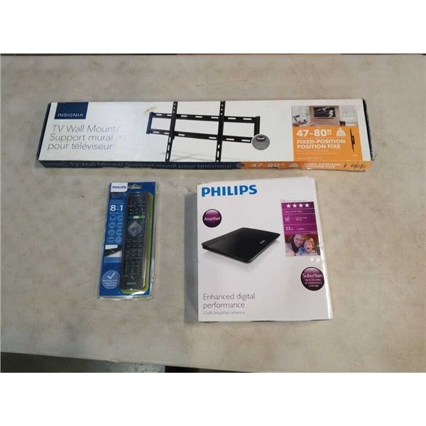 NEW OVERSTOCK INSIGNIA 47-80 INCH FIXED POSITION WALL MOUNT, PHILIPS 22DB AMPLIFIED HDTV DIGITAL ANT