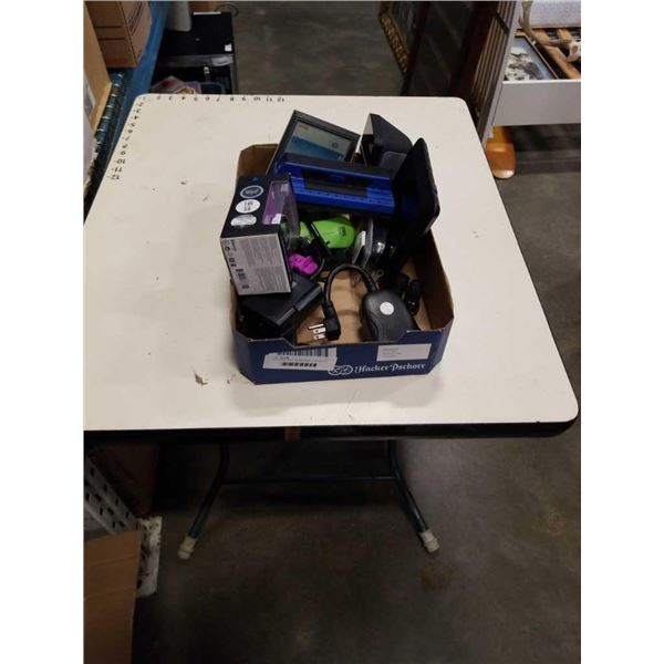Box of electronics, weather station, watches and more