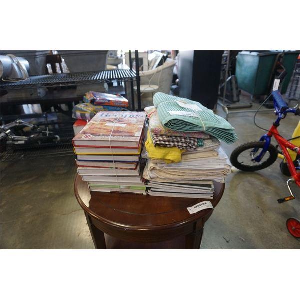 LOT OF WILDLIFE MAGAZINES, COOKBOOKS AND VINTAGE LINENS