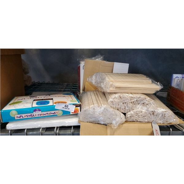 Lot of new chopsticks, Inflatable chair and more