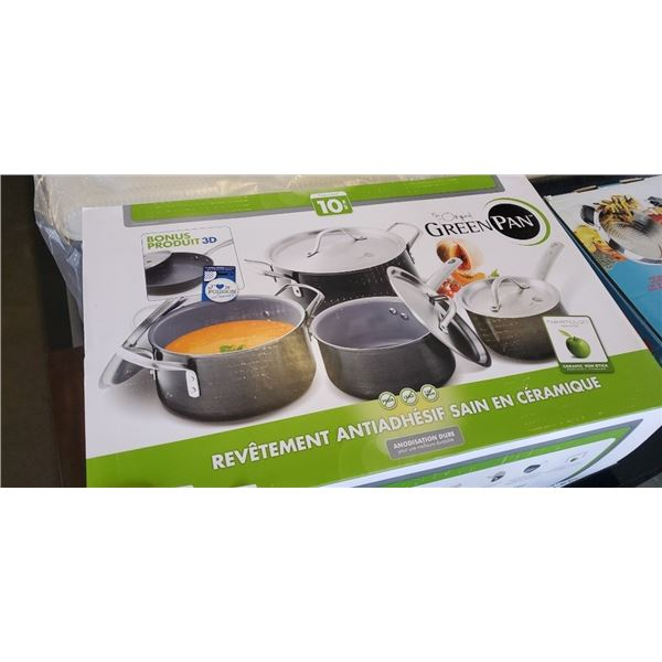 BRAND NEW THE ORIGINAL GREEN PAN SET OF 10 HARD ANODIZED HEALTHY CERAMIC NON-STICK COOKWARE - INCLUD