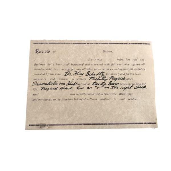 Django Dr. King Schultz (Christoph Waltz) Slave Paperwork Movie Props
