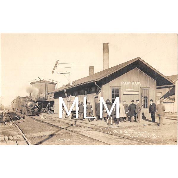 C.B. & 2 Depot Paw Paw, Illinois Photo Postcard