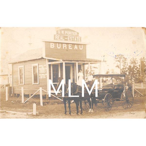 S.W. Porter Real-Estate Bureau & Wagon St. Cloud, Florida Photo Postcard