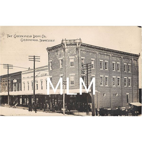 Greenfield Drug Co. Building Front Greenfield, Tennessee Photo Postcard