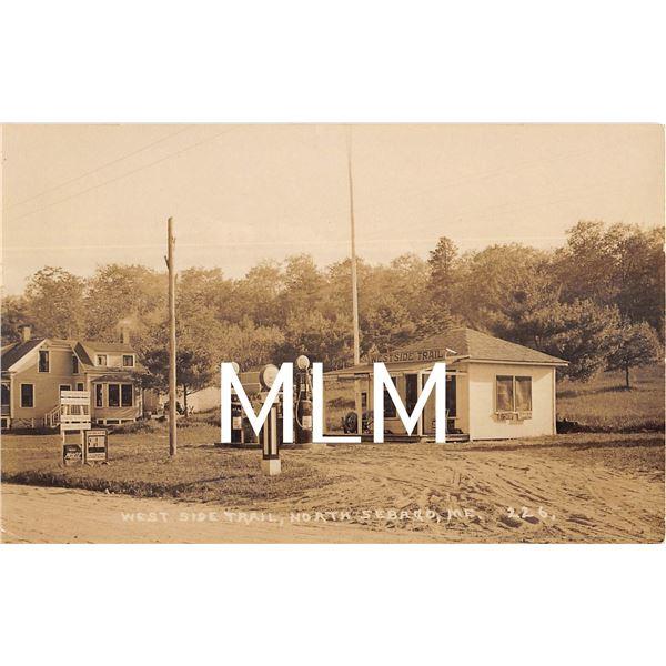 West Side Trail Gas Station Moxie Sign North Sebago, Maine Photo Postcard
