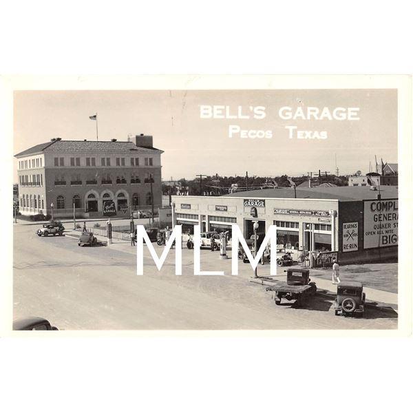 Bell's Garage Gas Station Pecos, Texas Photo Postcard