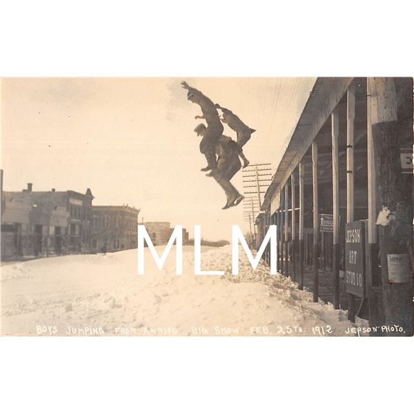 Jepson Art Studio Boys Jumping Into Snow Stockton, Kansas Photo Postcard