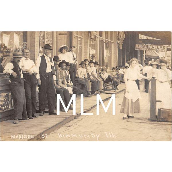Store Front Gathering Madison St. Kinmunoy, Illinois Photo Postcard