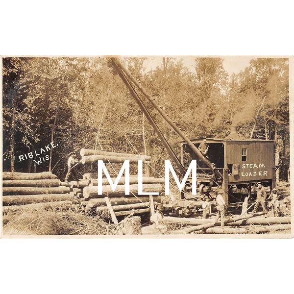 Logging Steam Loader Rib Lake, Wisconsin Photo Postcard