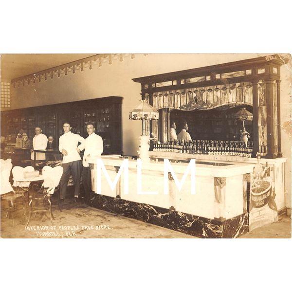 Interior Peoples Drug Store Soda Fountain Manatee, Florida Photo Postcard