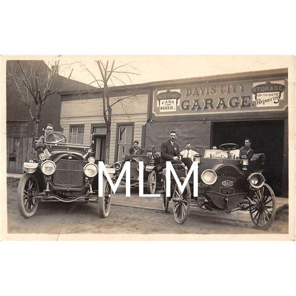 Davis City Auto Garage West Virginia License Plate Photo Postcard