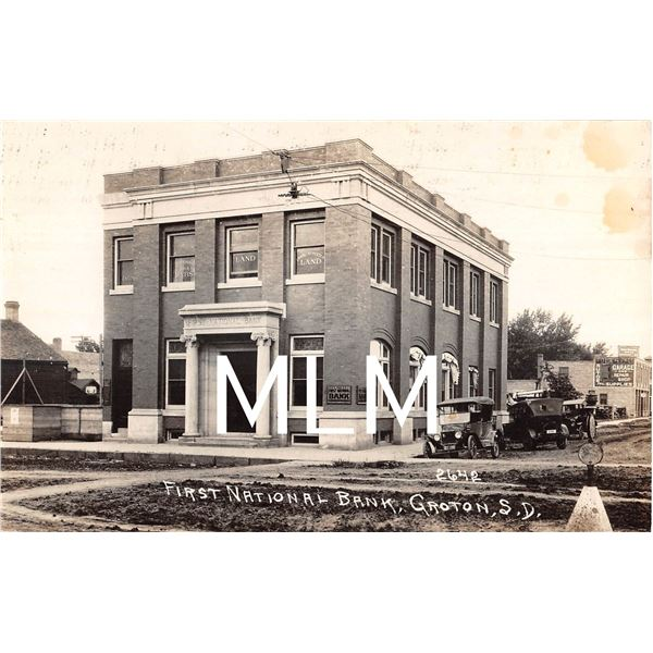 First National Bank Groton, South Dakota Photo Postcard