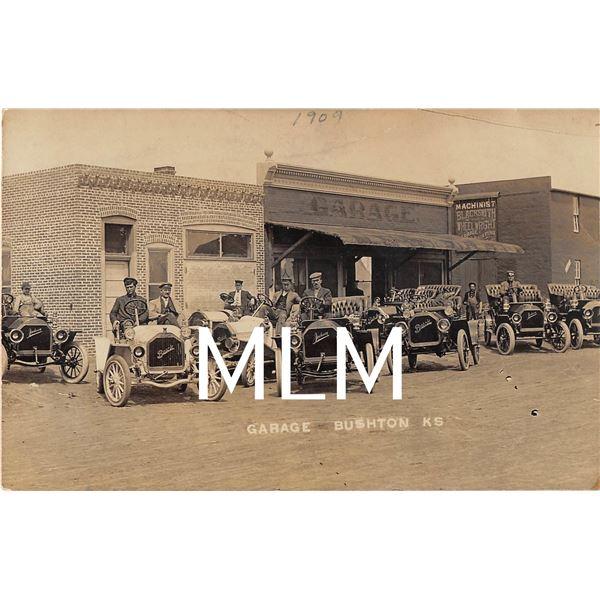 Buick & Jackson Autos Front of Garage Bushton, Kansas Photo Postcard