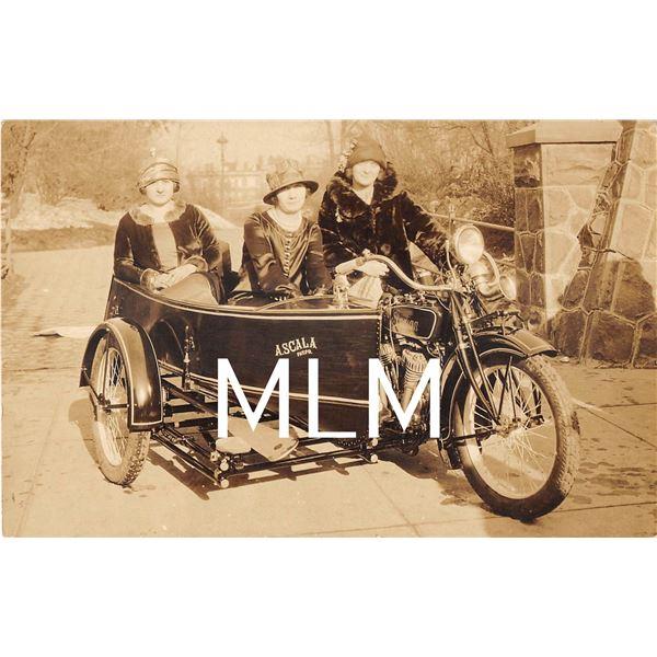 3 Ladies on Indian Motorcylce & Sidecar Photo Postcard