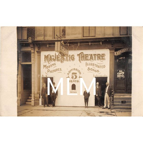 Majestic Theatre Front Norwich, New York Postmarked Photo Postcard